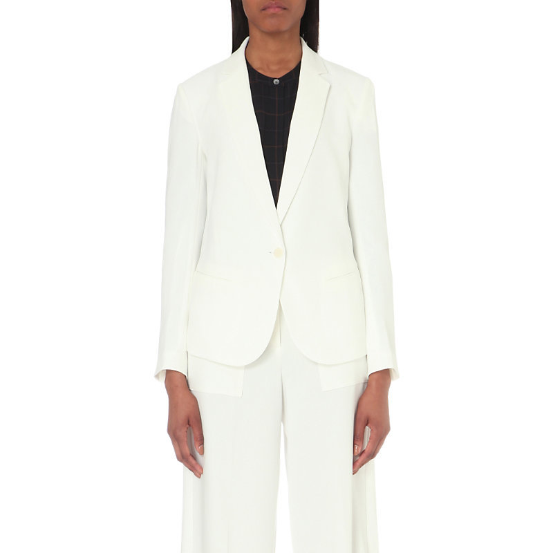 Robiva Single Breasted Crepe Jacket, Women's, Ivory - pattern: plain; style: single breasted blazer; length: below the bottom; collar: standard lapel/rever collar; predominant colour: ivory/cream; fit: tailored/fitted; fibres: polyester/polyamide - mix; occasions: occasion; sleeve length: long sleeve; sleeve style: standard; texture group: crepes; collar break: low/open; pattern type: fabric; season: s/s 2016; wardrobe: event