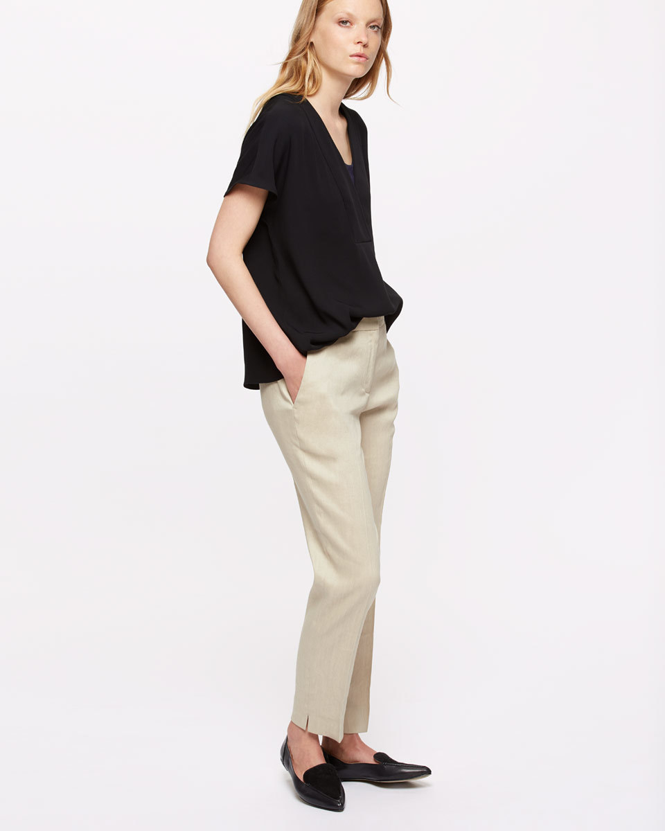 Portofino Linen Trousers - length: standard; pattern: plain; waist: mid/regular rise; predominant colour: stone; occasions: casual, creative work; fibres: linen - 100%; texture group: linen; fit: straight leg; pattern type: fabric; style: standard; season: s/s 2016; wardrobe: basic