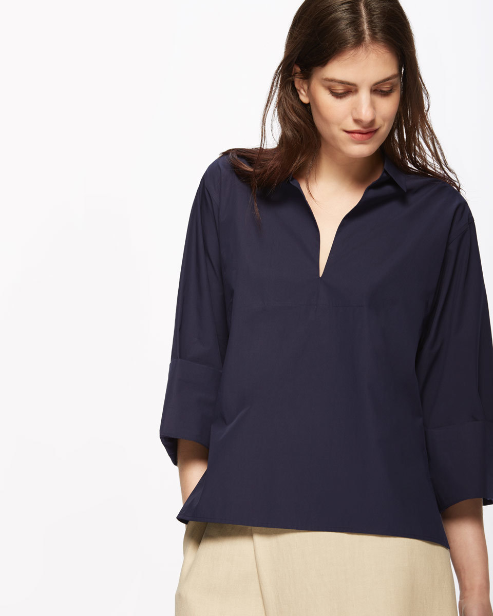 Artisan Shirt - neckline: shirt collar/peter pan/zip with opening; pattern: plain; style: shirt; predominant colour: navy; occasions: casual; length: standard; fibres: cotton - 100%; fit: body skimming; sleeve length: 3/4 length; sleeve style: standard; texture group: cotton feel fabrics; pattern type: fabric; season: s/s 2016; wardrobe: basic