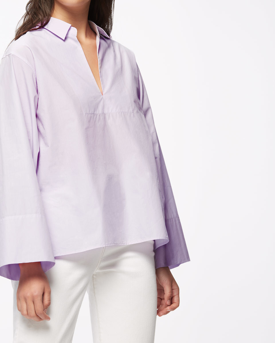Artisan Shirt - neckline: shirt collar/peter pan/zip with opening; pattern: plain; style: shirt; predominant colour: lilac; occasions: casual; length: standard; fibres: cotton - 100%; fit: loose; sleeve length: long sleeve; sleeve style: standard; texture group: cotton feel fabrics; pattern type: fabric; season: s/s 2016; wardrobe: highlight