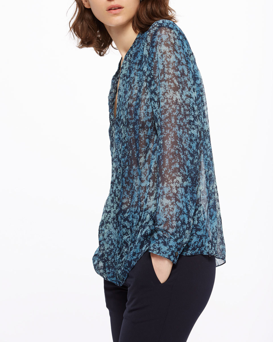 Shadow Floral Blouse - style: blouse; predominant colour: navy; secondary colour: black; occasions: casual, creative work; length: standard; neckline: collarstand & mandarin with v-neck; fibres: viscose/rayon - 100%; fit: body skimming; sleeve length: long sleeve; sleeve style: standard; texture group: sheer fabrics/chiffon/organza etc.; pattern type: fabric; pattern: patterned/print; multicoloured: multicoloured; season: s/s 2016; wardrobe: highlight