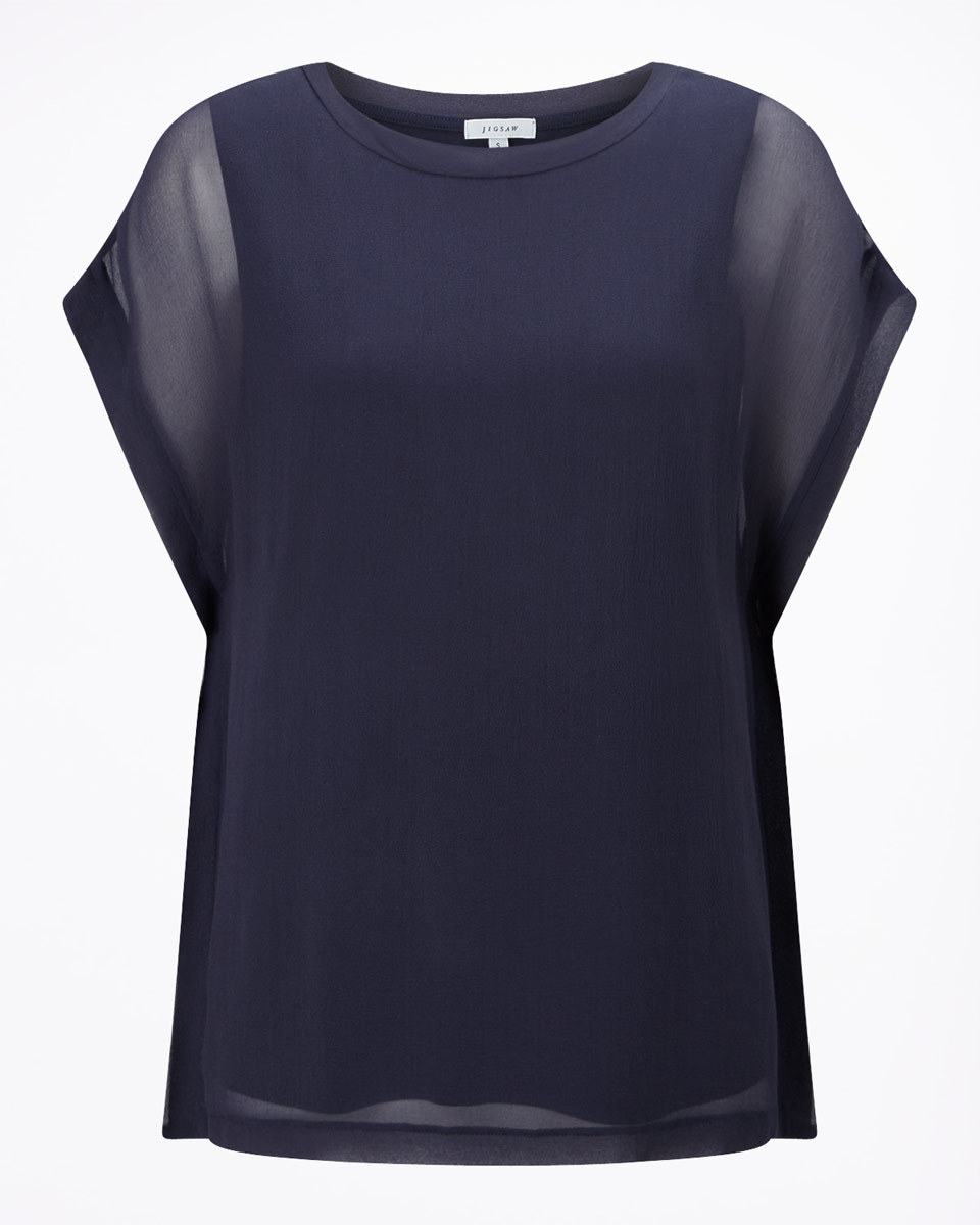 Silk Front Overlay T Shirt - sleeve style: capped; pattern: plain; style: t-shirt; predominant colour: navy; occasions: evening; length: standard; fibres: silk - 100%; fit: body skimming; neckline: crew; sleeve length: short sleeve; texture group: sheer fabrics/chiffon/organza etc.; pattern type: fabric; shoulder detail: sheer at shoulder; season: s/s 2016; wardrobe: event
