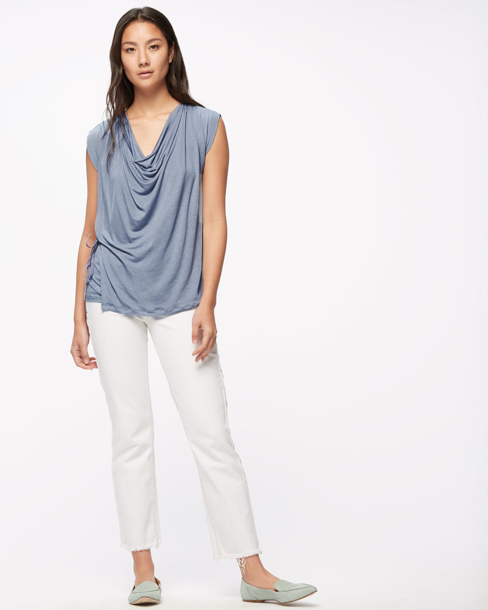Sleeveless Cowl Neck Top - neckline: cowl/draped neck; pattern: plain; sleeve style: sleeveless; predominant colour: pale blue; occasions: casual; length: standard; style: top; fibres: viscose/rayon - 100%; fit: loose; sleeve length: sleeveless; pattern type: fabric; texture group: jersey - stretchy/drapey; season: s/s 2016; wardrobe: highlight