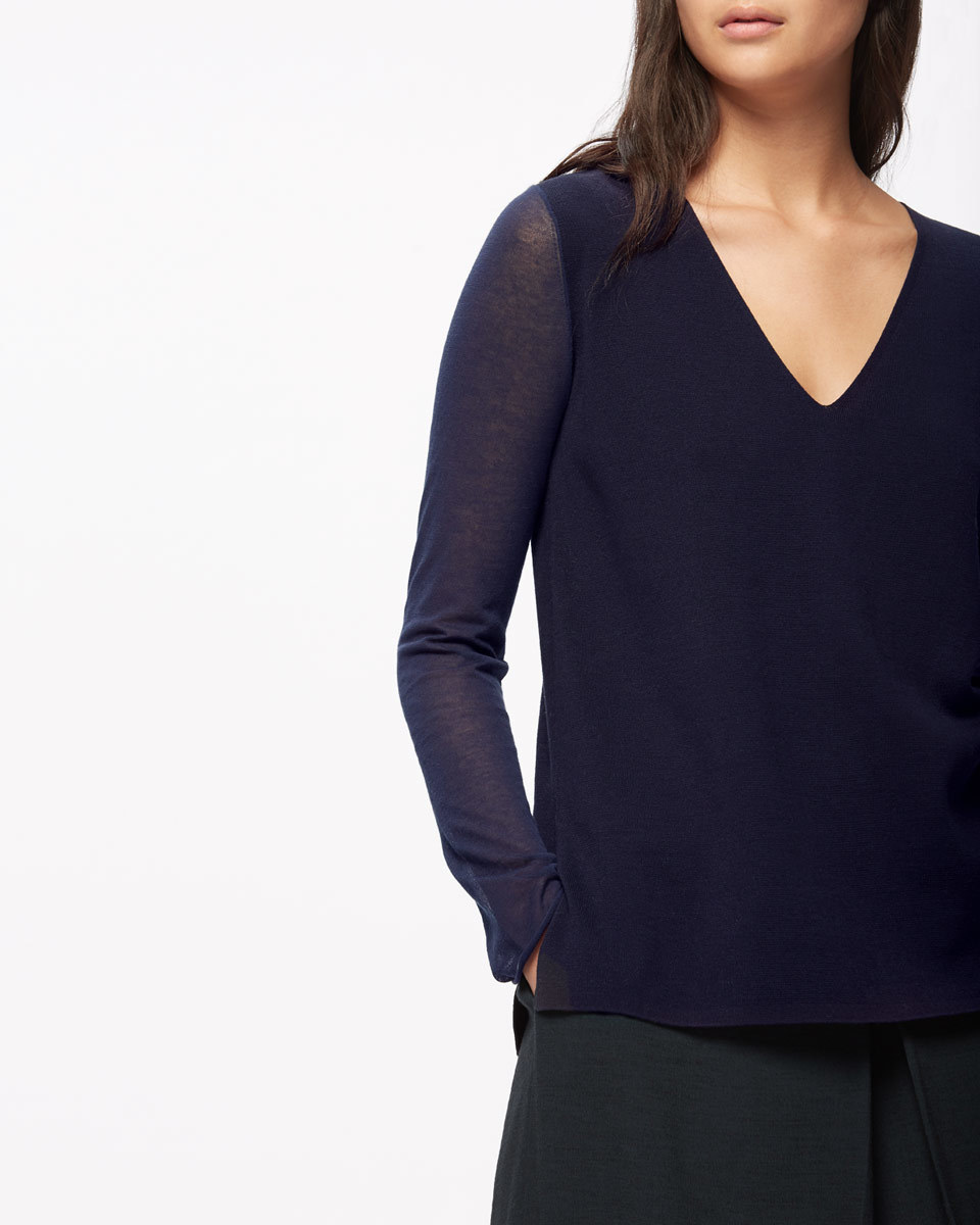 Sheer Sleeve Cotton V Neck - neckline: v-neck; pattern: plain; style: standard; predominant colour: navy; occasions: casual; length: standard; fibres: cotton - 100%; fit: slim fit; sleeve length: long sleeve; sleeve style: standard; texture group: cotton feel fabrics; pattern type: fabric; season: s/s 2016