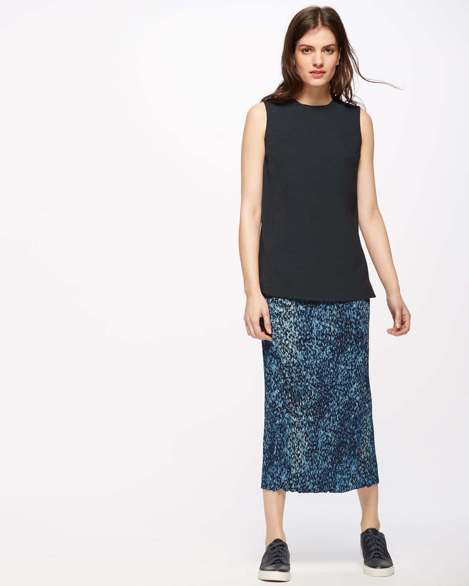 Shadow Floral Pleated Midi Skirt - length: calf length; style: pencil; fit: body skimming; waist: mid/regular rise; predominant colour: navy; secondary colour: navy; occasions: evening; fibres: polyester/polyamide - 100%; pattern type: fabric; pattern: patterned/print; texture group: other - light to midweight; embellishment: glitter; season: s/s 2016; wardrobe: event; embellishment location: all over