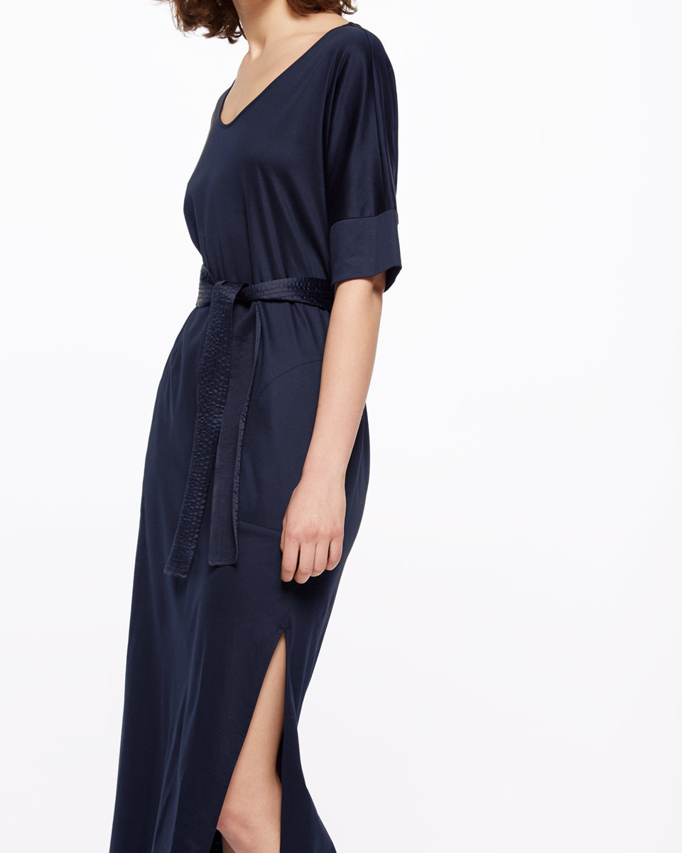 Mercerized Cotton Dress - neckline: v-neck; pattern: plain; style: maxi dress; length: ankle length; waist detail: belted waist/tie at waist/drawstring; predominant colour: navy; occasions: evening; fit: body skimming; fibres: cotton - 100%; hip detail: slits at hip; sleeve length: half sleeve; sleeve style: standard; texture group: cotton feel fabrics; pattern type: fabric; season: s/s 2016; wardrobe: event