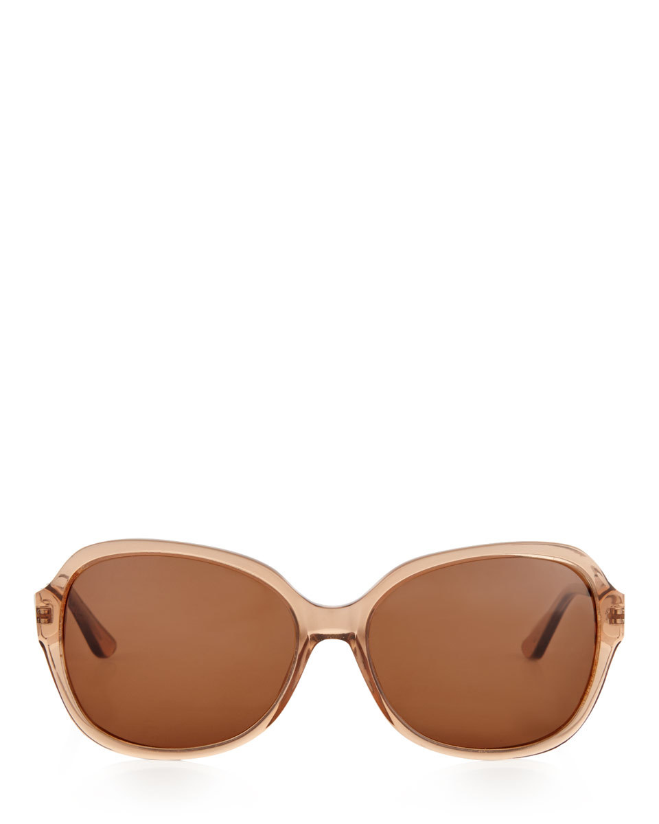 Lily Polarised Sunglasses - predominant colour: nude; occasions: casual, holiday; style: square; size: large; material: plastic/rubber; pattern: plain; finish: plain; season: s/s 2016; wardrobe: basic