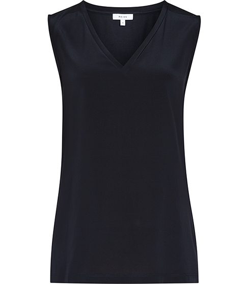 Fierce Silk Front Tank Top - neckline: v-neck; pattern: plain; sleeve style: sleeveless; predominant colour: black; occasions: casual; length: standard; style: top; fibres: silk - 100%; fit: body skimming; sleeve length: sleeveless; texture group: silky - light; pattern type: fabric; season: s/s 2016
