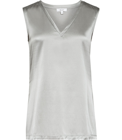 Fi Silk Front Tank Top - neckline: v-neck; pattern: plain; sleeve style: sleeveless; style: vest top; predominant colour: silver; occasions: evening; length: standard; fibres: silk - 100%; fit: body skimming; sleeve length: sleeveless; texture group: silky - light; pattern type: fabric; season: s/s 2016; wardrobe: event