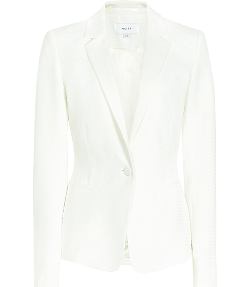 Hanneli Ruffle Back Jacket - pattern: plain; style: single breasted blazer; length: below the bottom; collar: standard lapel/rever collar; predominant colour: white; fit: tailored/fitted; fibres: polyester/polyamide - stretch; occasions: occasion; sleeve length: long sleeve; sleeve style: standard; collar break: medium; pattern type: fabric; texture group: woven light midweight; season: s/s 2016; wardrobe: event