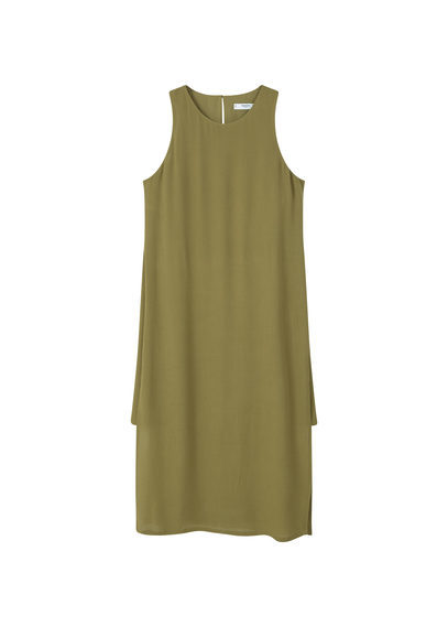Side Slit Dress - style: shift; length: below the knee; neckline: round neck; pattern: plain; sleeve style: sleeveless; predominant colour: khaki; occasions: casual; fit: straight cut; fibres: viscose/rayon - 100%; sleeve length: sleeveless; pattern type: fabric; texture group: woven light midweight; season: s/s 2016