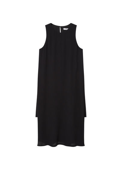 Side Slit Dress - style: shift; length: below the knee; neckline: round neck; pattern: plain; sleeve style: sleeveless; predominant colour: black; occasions: casual; fit: straight cut; fibres: viscose/rayon - 100%; sleeve length: sleeveless; pattern type: fabric; texture group: woven light midweight; season: s/s 2016; wardrobe: basic