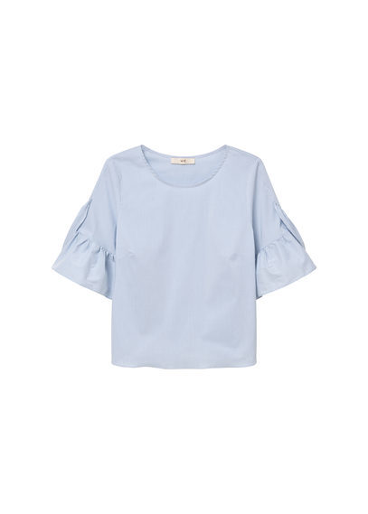 Poplin Blouse - neckline: round neck; pattern: plain; style: blouse; predominant colour: pale blue; occasions: casual; length: standard; fibres: cotton - 100%; fit: body skimming; sleeve length: short sleeve; sleeve style: standard; texture group: cotton feel fabrics; pattern type: fabric; season: s/s 2016; wardrobe: highlight
