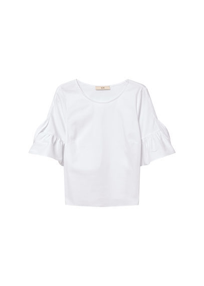 Poplin Blouse - neckline: round neck; pattern: plain; predominant colour: white; occasions: casual; length: standard; style: top; fibres: cotton - 100%; fit: body skimming; sleeve length: short sleeve; sleeve style: standard; pattern type: fabric; texture group: other - light to midweight; season: s/s 2016