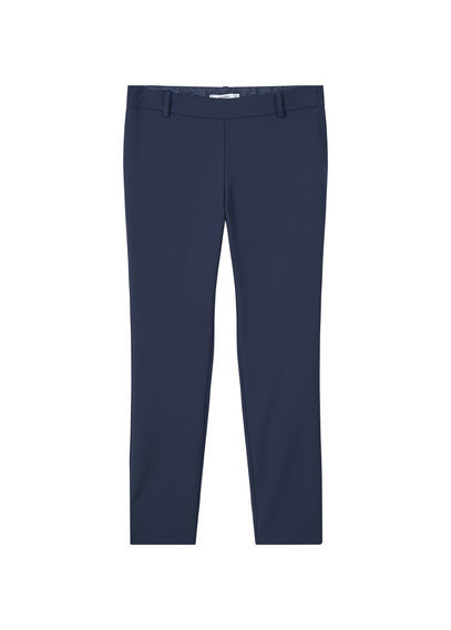 Slim Fit Cotton Blend Trousers - pattern: plain; waist: mid/regular rise; predominant colour: navy; occasions: work; length: ankle length; fibres: cotton - mix; waist detail: feature waist detail; texture group: cotton feel fabrics; fit: slim leg; pattern type: fabric; style: standard; season: s/s 2016; wardrobe: basic