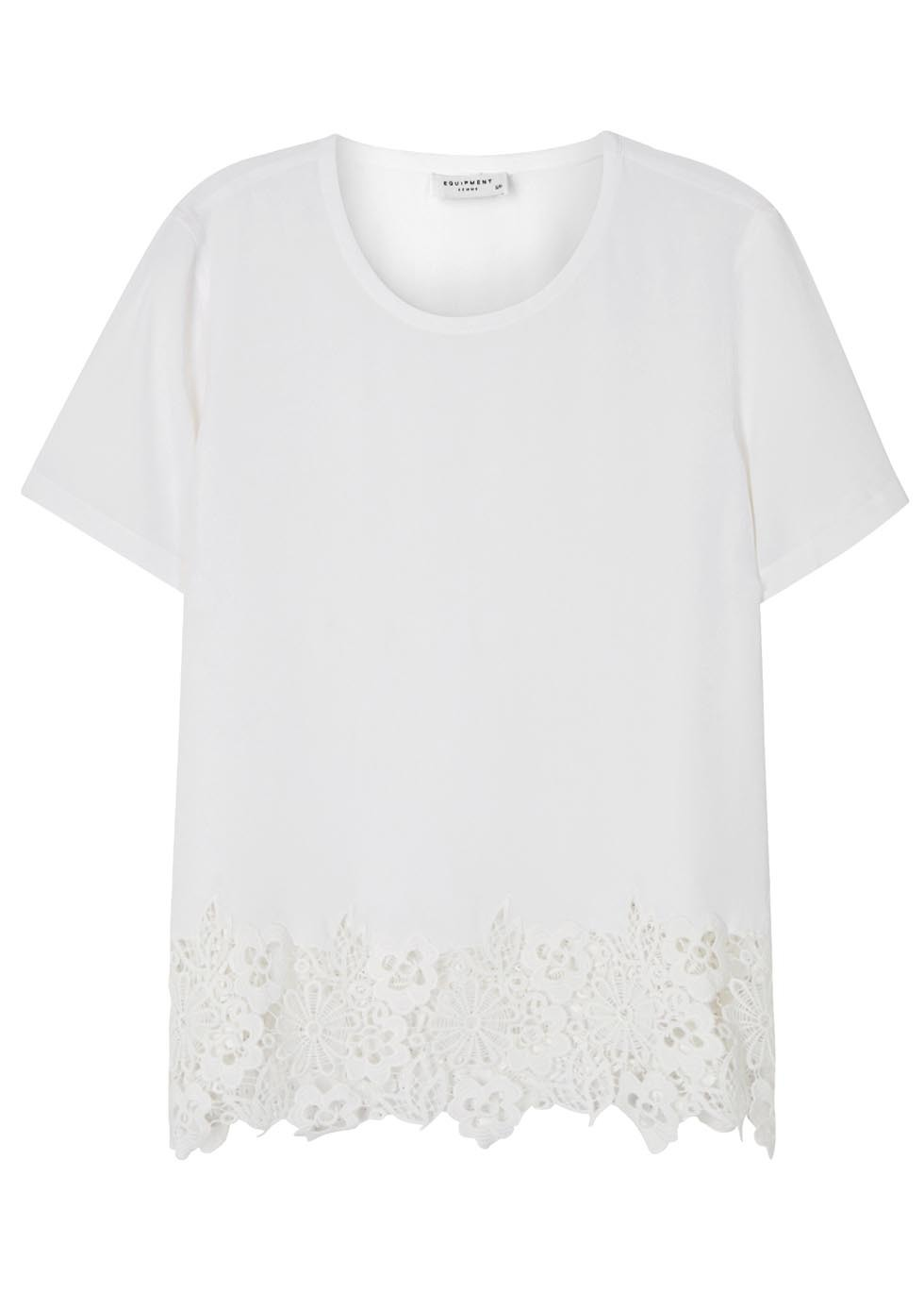 Riley Macramé Trimmed Silk T Shirt - pattern: plain; style: t-shirt; predominant colour: white; occasions: casual; length: standard; fibres: silk - 100%; fit: body skimming; neckline: crew; sleeve length: short sleeve; sleeve style: standard; texture group: silky - light; pattern type: fabric; embellishment: lace; season: s/s 2016; wardrobe: highlight