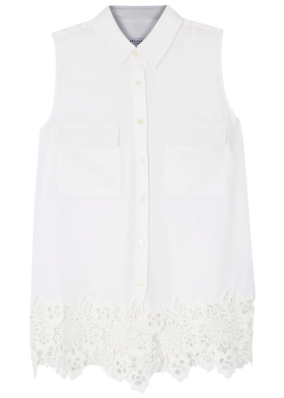 Signature White Lace Trimmed Silk Shirt - neckline: shirt collar/peter pan/zip with opening; pattern: plain; sleeve style: sleeveless; style: shirt; predominant colour: white; occasions: casual; length: standard; fibres: silk - 100%; fit: body skimming; sleeve length: sleeveless; texture group: silky - light; pattern type: fabric; embellishment: lace; season: s/s 2016; wardrobe: highlight