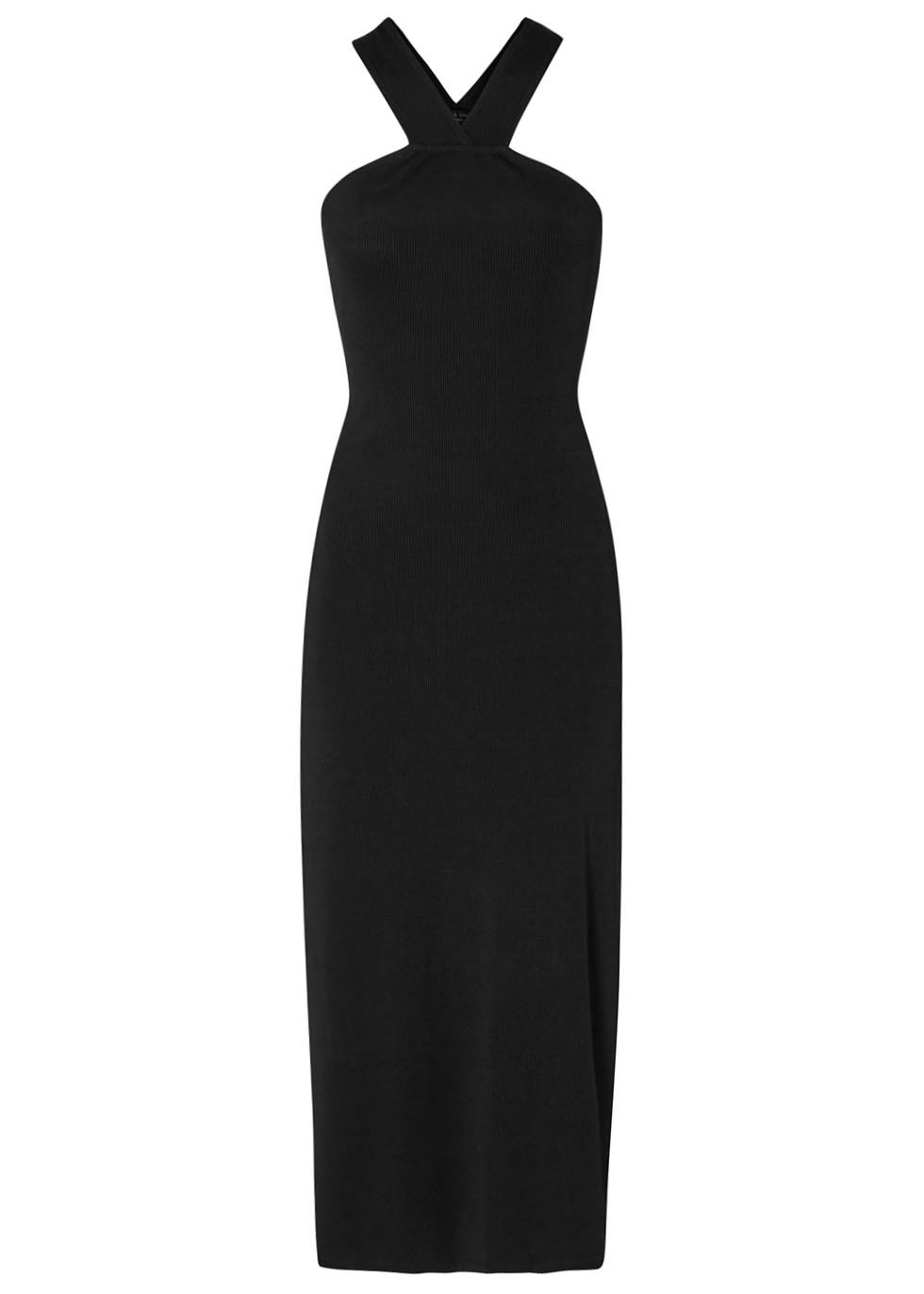 Rachel Black Ribbed Jersey Dress - pattern: plain; sleeve style: sleeveless; style: maxi dress; length: ankle length; predominant colour: black; occasions: evening; fit: body skimming; fibres: viscose/rayon - stretch; sleeve length: sleeveless; pattern type: fabric; texture group: jersey - stretchy/drapey; season: s/s 2016; neckline: high halter neck; wardrobe: event