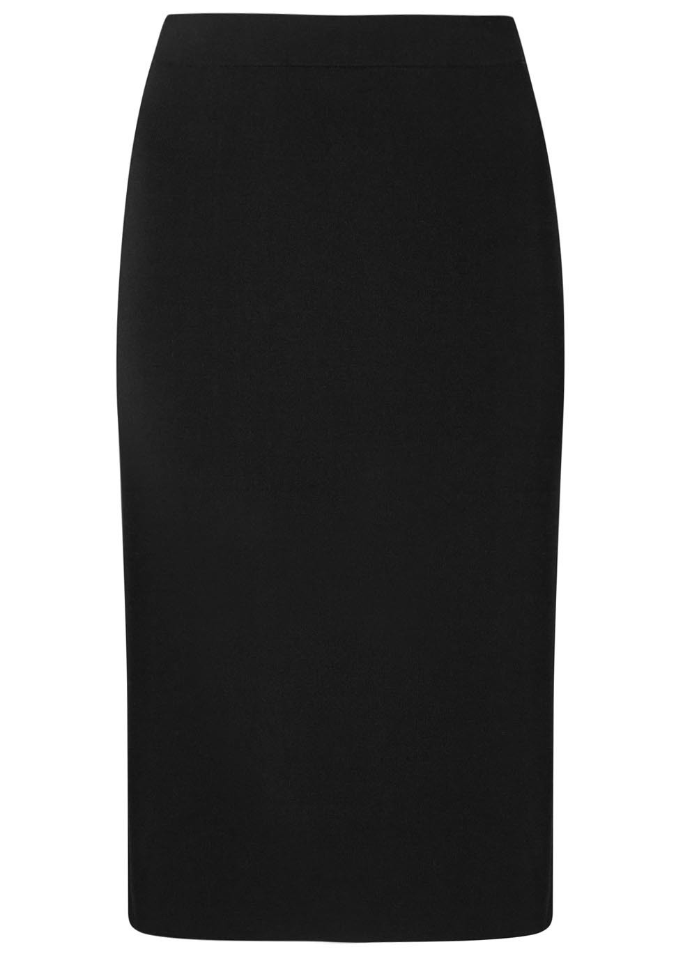 Lucine Black Jersey Pencil Skirt - length: below the knee; pattern: plain; style: pencil; fit: tailored/fitted; waist: mid/regular rise; predominant colour: black; occasions: work; pattern type: fabric; texture group: jersey - stretchy/drapey; fibres: viscose/rayon - mix; season: s/s 2016; wardrobe: basic