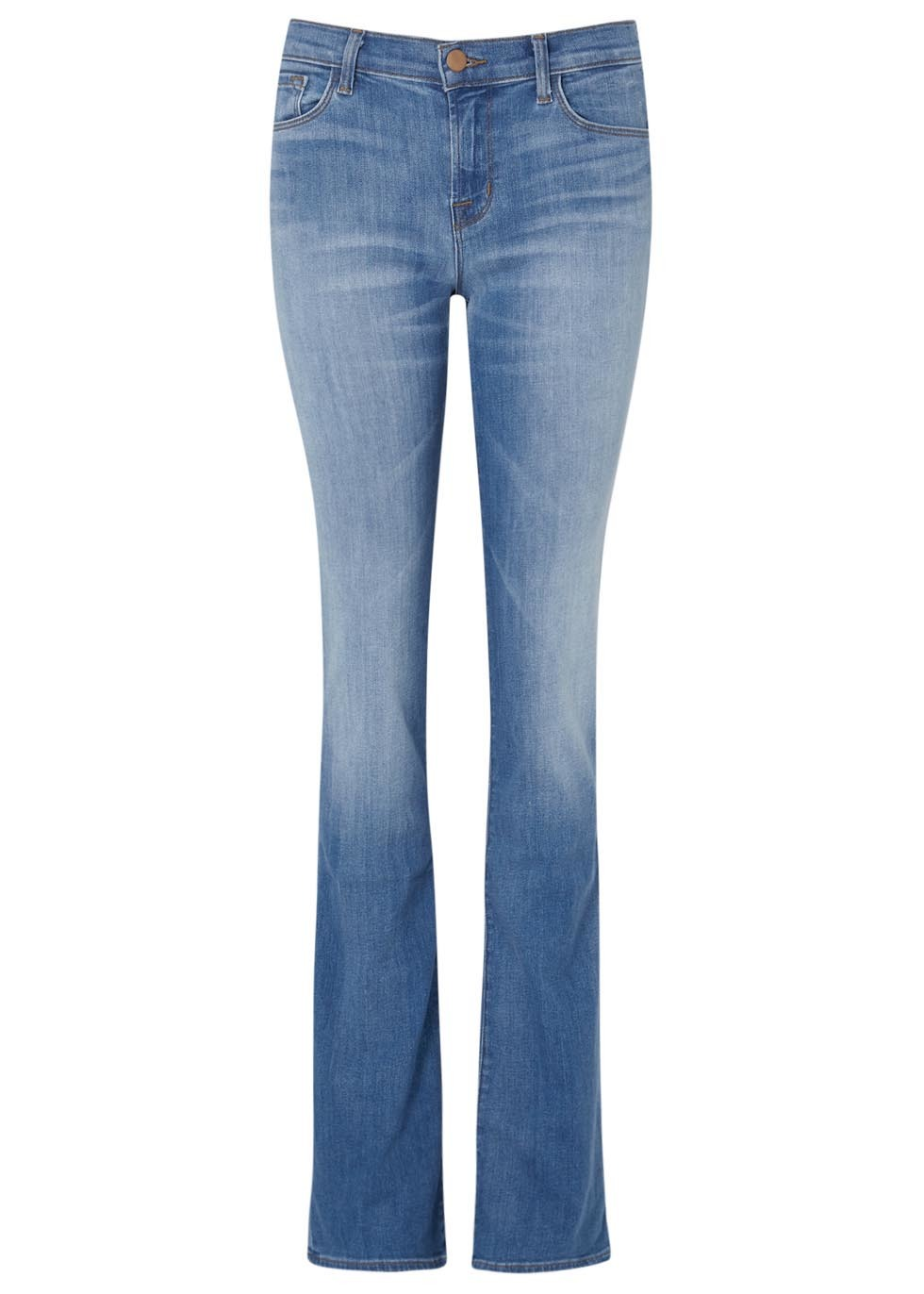 Byra Blue Flared Jeans - style: bootcut; length: standard; pattern: plain; pocket detail: traditional 5 pocket; waist: mid/regular rise; predominant colour: denim; occasions: casual; fibres: cotton - stretch; jeans detail: whiskering, shading down centre of thigh; texture group: denim; pattern type: fabric; season: s/s 2016; wardrobe: basic