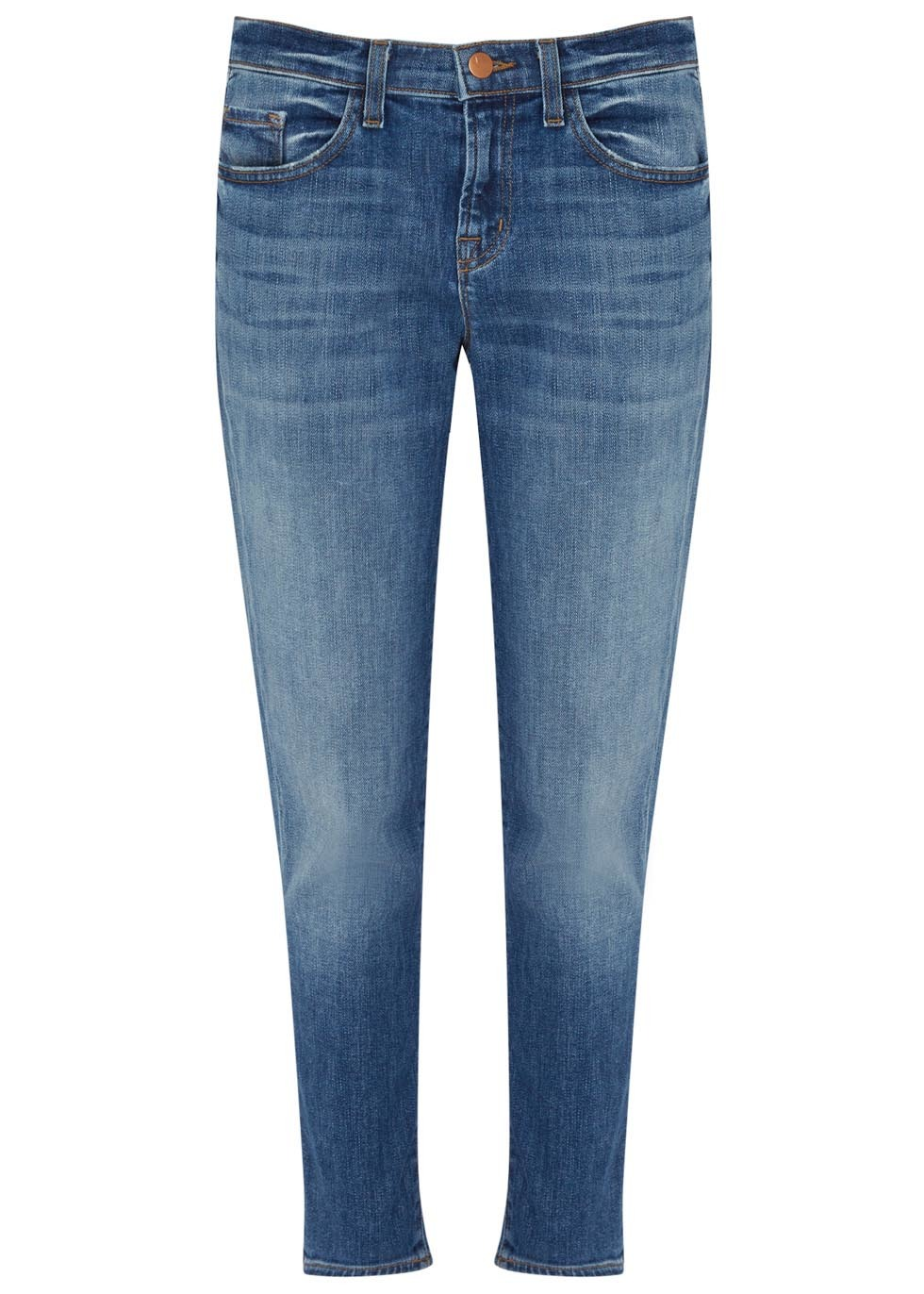 Sadey Blue Cropped Slim Leg Jeans - pattern: plain; pocket detail: traditional 5 pocket; style: slim leg; waist: mid/regular rise; predominant colour: denim; occasions: casual; length: ankle length; fibres: cotton - mix; jeans detail: whiskering, shading down centre of thigh; texture group: denim; pattern type: fabric; season: s/s 2016; wardrobe: basic