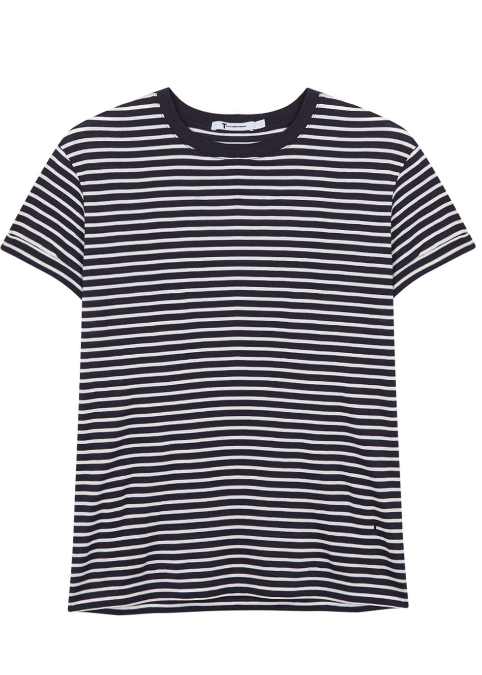 Striped Cotton T Shirt Size - pattern: horizontal stripes; style: t-shirt; secondary colour: white; predominant colour: navy; occasions: casual, holiday; length: standard; fibres: cotton - 100%; fit: loose; neckline: crew; sleeve length: short sleeve; sleeve style: standard; pattern type: fabric; texture group: jersey - stretchy/drapey; multicoloured: multicoloured; season: s/s 2016; wardrobe: basic