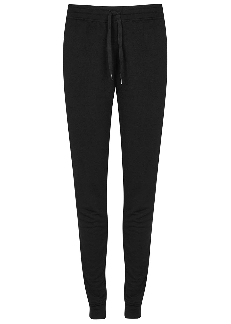 Black Washed Terry Jogging Trousers - length: standard; pattern: plain; style: tracksuit pants; waist detail: elasticated waist; waist: mid/regular rise; predominant colour: black; occasions: casual; fibres: polyester/polyamide - mix; fit: tapered; pattern type: fabric; texture group: jersey - stretchy/drapey; season: s/s 2016; wardrobe: basic
