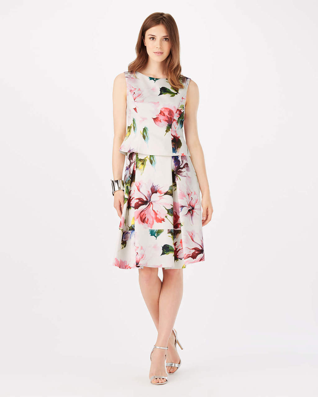 Botanical Scuba Skirt - style: full/prom skirt; fit: loose/voluminous; waist: high rise; predominant colour: ivory/cream; length: on the knee; fibres: polyester/polyamide - stretch; occasions: occasion; pattern type: fabric; pattern: florals; texture group: woven light midweight; pattern size: standard (bottom); multicoloured: multicoloured; season: s/s 2016; wardrobe: event