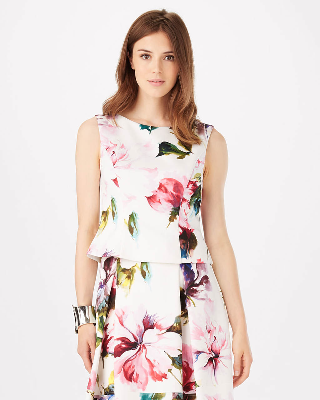 Botanical Scuba Top - neckline: round neck; sleeve style: sleeveless; predominant colour: white; secondary colour: pink; length: standard; style: top; fibres: polyester/polyamide - stretch; occasions: occasion; fit: body skimming; sleeve length: sleeveless; pattern type: fabric; pattern: florals; texture group: other - light to midweight; pattern size: big & busy (top); multicoloured: multicoloured; season: s/s 2016; wardrobe: event