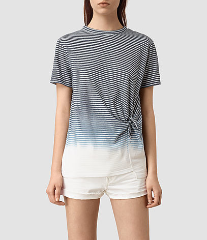 Ashley Grade Tee - pattern: horizontal stripes; style: t-shirt; waist detail: twist front waist detail/nipped in at waist on one side/soft pleats/draping/ruching/gathering waist detail; secondary colour: white; predominant colour: black; occasions: casual; length: standard; fibres: polyester/polyamide - mix; fit: body skimming; neckline: crew; sleeve length: short sleeve; sleeve style: standard; pattern type: fabric; texture group: jersey - stretchy/drapey; multicoloured: multicoloured; season: s/s 2016