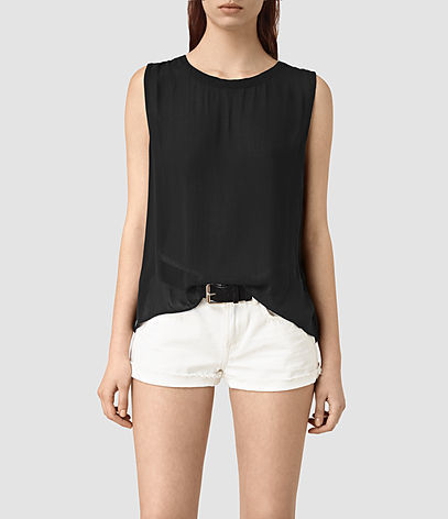 Louis Top - pattern: plain; sleeve style: sleeveless; style: vest top; predominant colour: black; occasions: casual; length: standard; fit: body skimming; neckline: crew; sleeve length: sleeveless; pattern type: fabric; texture group: jersey - stretchy/drapey; fibres: viscose/rayon - mix; season: s/s 2016; wardrobe: basic