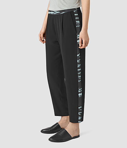 Misty Tye Silk Trousers - waist: high rise; predominant colour: black; occasions: casual; length: ankle length; fibres: viscose/rayon - 100%; fit: wide leg; pattern type: fabric; pattern: patterned/print; texture group: other - light to midweight; style: standard; season: s/s 2016; wardrobe: highlight