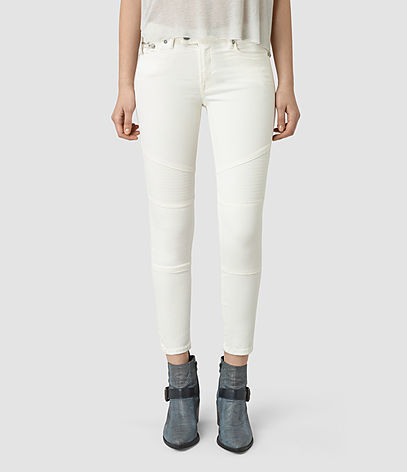 Biker Cropped Jeans - style: skinny leg; pattern: plain; pocket detail: traditional 5 pocket; waist: mid/regular rise; predominant colour: black; occasions: casual; length: ankle length; fibres: cotton - stretch; texture group: denim; pattern type: fabric; season: s/s 2016