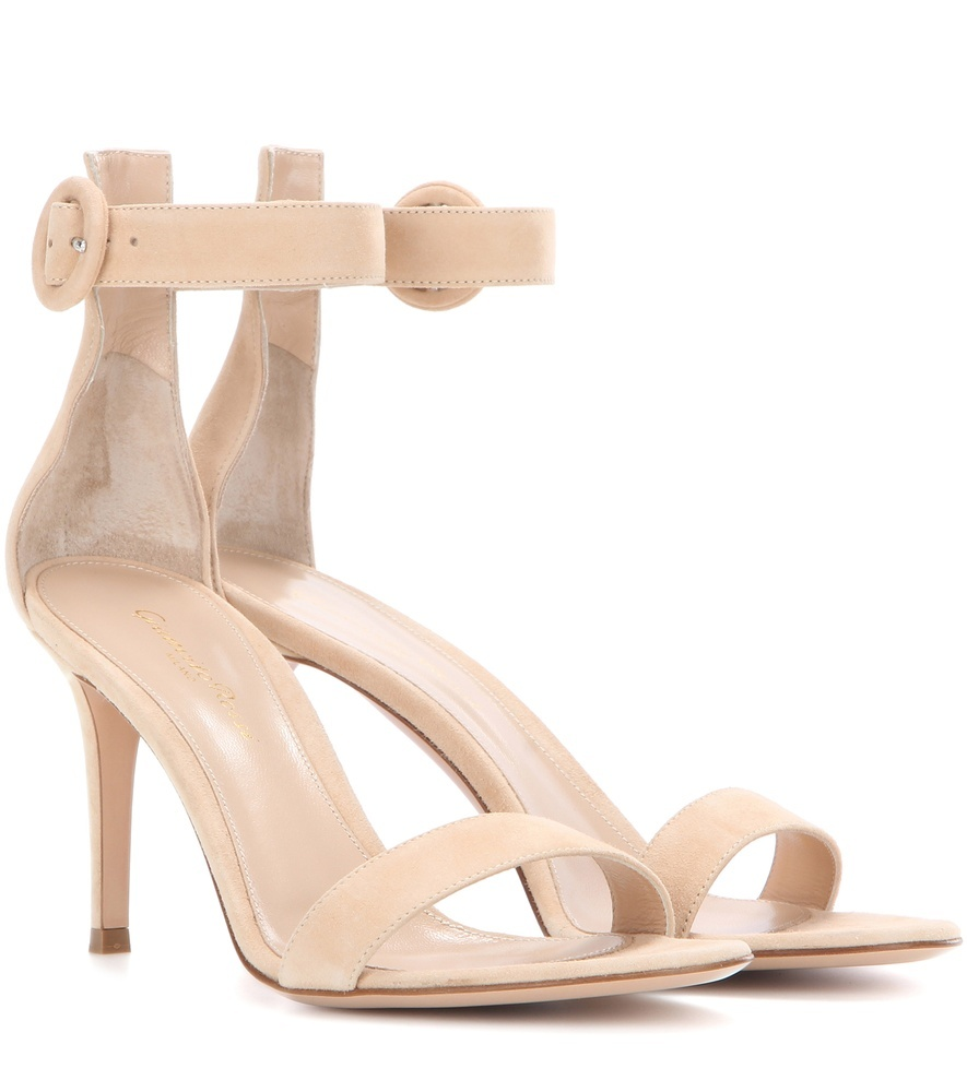 Portofino 85 Suede Sandals - predominant colour: nude; occasions: evening; material: suede; heel height: high; ankle detail: ankle strap; heel: stiletto; toe: open toe/peeptoe; style: standard; finish: plain; pattern: plain; season: s/s 2016; wardrobe: event