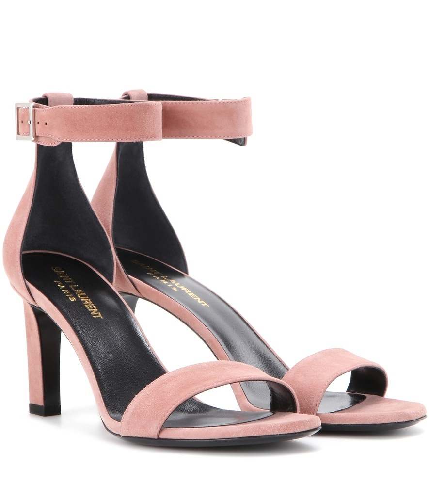 Grace 80 Suede Sandals - predominant colour: pink; occasions: evening; material: suede; heel height: high; ankle detail: ankle strap; heel: block; toe: open toe/peeptoe; style: standard; finish: plain; pattern: plain; season: s/s 2016; wardrobe: event
