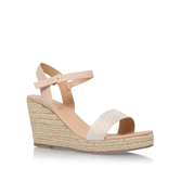 Paulina - predominant colour: nude; occasions: casual, holiday; material: leather; heel height: high; heel: wedge; toe: open toe/peeptoe; style: standard; finish: plain; pattern: plain; season: s/s 2016; wardrobe: investment
