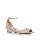 Cassandra - predominant colour: champagne; occasions: casual, evening; material: leather; heel height: mid; ankle detail: ankle strap; heel: wedge; toe: open toe/peeptoe; style: courts; finish: metallic; pattern: plain; season: s/s 2016; wardrobe: highlight