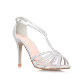 Pepper - predominant colour: silver; occasions: evening, occasion; material: leather; heel height: high; heel: stiletto; toe: open toe/peeptoe; style: t-bar; finish: metallic; pattern: plain; season: s/s 2016; wardrobe: event