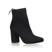 Swan - predominant colour: black; occasions: casual; material: leather; heel height: high; heel: block; toe: pointed toe; boot length: ankle boot; style: standard; finish: plain; pattern: plain; season: s/s 2016; wardrobe: highlight