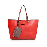 Mollie Shopper - predominant colour: bright orange; occasions: casual; type of pattern: standard; style: tote; length: shoulder (tucks under arm); size: oversized; material: leather; pattern: plain; finish: plain; season: s/s 2016; wardrobe: highlight