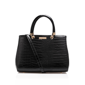 Darla Croc Tote - predominant colour: black; occasions: work; type of pattern: standard; style: tote; length: across body/long; size: standard; material: leather; pattern: plain; finish: plain; season: s/s 2016; wardrobe: investment