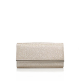 Dee - predominant colour: champagne; occasions: evening, occasion; type of pattern: standard; style: clutch; length: hand carry; size: standard; material: fabric; pattern: plain; finish: metallic; season: s/s 2016; wardrobe: event