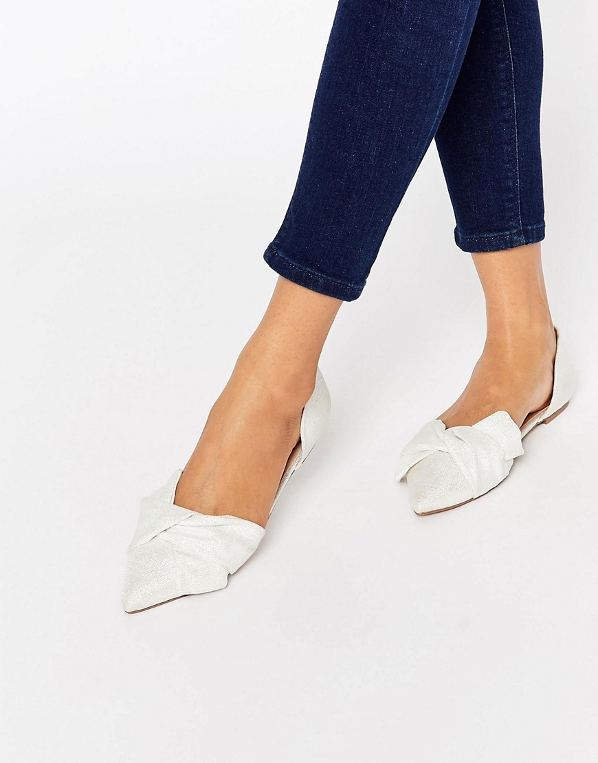 Lady Pointed Bow Ballet Flats Ivory - predominant colour: ivory/cream; occasions: casual, creative work; material: fabric; heel height: flat; toe: pointed toe; style: ballerinas / pumps; finish: plain; pattern: plain; season: s/s 2016; wardrobe: basic