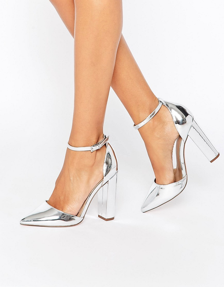 Penalty Pointed High Heels Silver - predominant colour: silver; occasions: evening; material: faux leather; heel height: high; ankle detail: ankle strap; heel: block; toe: pointed toe; style: courts; finish: metallic; pattern: plain; season: s/s 2016