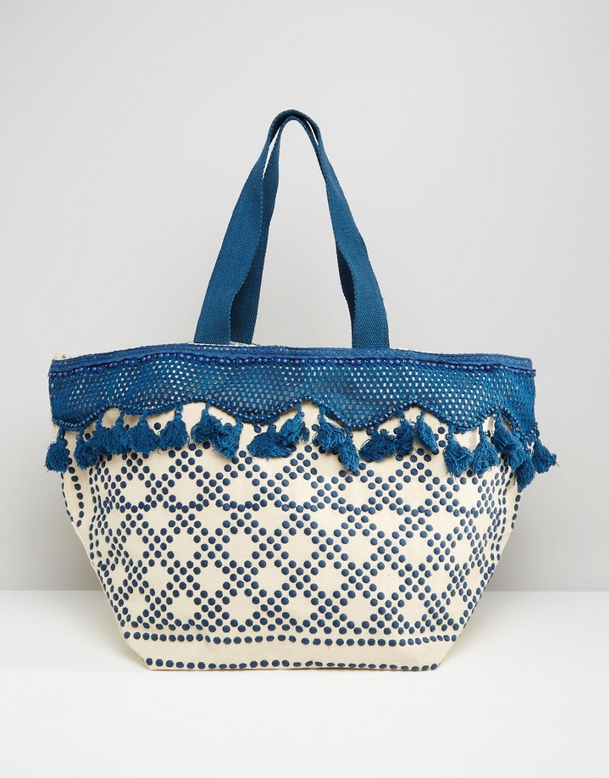 Tassel Beach Bag Blue Mix - predominant colour: royal blue; secondary colour: denim; occasions: casual, holiday; type of pattern: standard; style: tote; length: shoulder (tucks under arm); size: oversized; material: fabric; embellishment: tassels; finish: plain; pattern: patterned/print; season: s/s 2016; wardrobe: highlight