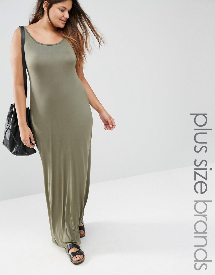 Jersey Maxi Dress Khaki - sleeve style: standard vest straps/shoulder straps; pattern: plain; style: maxi dress; length: ankle length; predominant colour: khaki; fit: body skimming; neckline: scoop; fibres: viscose/rayon - stretch; sleeve length: sleeveless; occasions: holiday; pattern type: fabric; texture group: jersey - stretchy/drapey; season: s/s 2016; wardrobe: holiday
