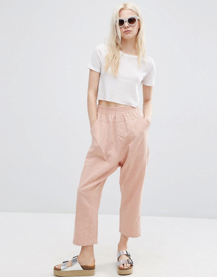 Washed Casual Straight Leg Trousers Blush - pattern: plain; waist: mid/regular rise; predominant colour: nude; occasions: casual; length: ankle length; fibres: cotton - mix; fit: straight leg; pattern type: fabric; texture group: other - light to midweight; style: standard; season: s/s 2016