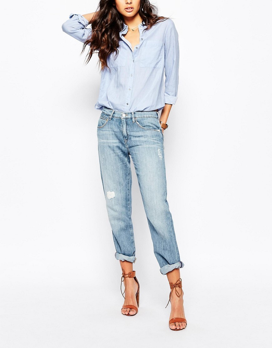 J70 Boyfriend Jeans In Distressed Wash Blue - style: boyfriend; length: standard; pattern: plain; pocket detail: traditional 5 pocket; waist: mid/regular rise; predominant colour: pale blue; occasions: casual; fibres: polyester/polyamide - mix; texture group: denim; pattern type: fabric; jeans detail: rips; season: s/s 2016; wardrobe: basic