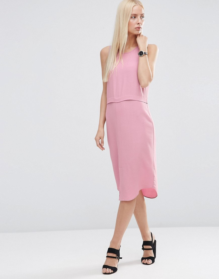 Split Front Layered Column Dress Pink - style: shift; length: below the knee; pattern: plain; sleeve style: sleeveless; predominant colour: pink; occasions: evening; fit: body skimming; fibres: viscose/rayon - 100%; neckline: crew; sleeve length: sleeveless; pattern type: fabric; texture group: other - light to midweight; season: s/s 2016; wardrobe: event