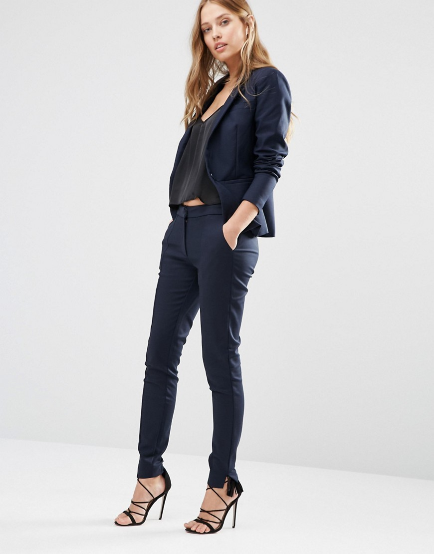 Mynte Skinny Suit Pant In Navy Navy - length: standard; pattern: plain; waist: mid/regular rise; predominant colour: navy; occasions: work; fibres: cotton - stretch; texture group: cotton feel fabrics; fit: skinny/tight leg; pattern type: fabric; style: standard; season: s/s 2016; wardrobe: basic